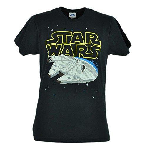 Star Wars Movie Pixel Spaceship Black Mens Fifth Sun Eight Bid Tshirt Tee Large