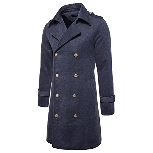 Collar Long Coat (Men's Trench Coat Long Wool Blend Slim Fit Jacket Winter Double Breasted Overcoat)