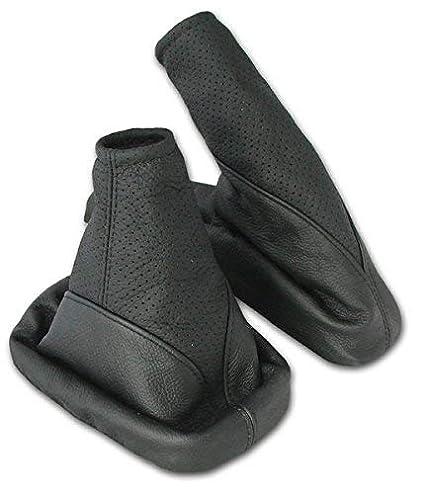 L&P A099-1 Funda saco cuero de 100% real piel genuina negro perforado con costura negra de palanca de cambios cambio velocidad velocidades marchas saco de ...