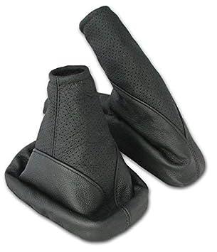 L&P A099-1 Funda saco cuero de 100% real piel genuina negro perforado con