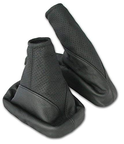 Aerzetix Pair of gear shift lever gaiter and handbrake cover Dark grey and black . Color