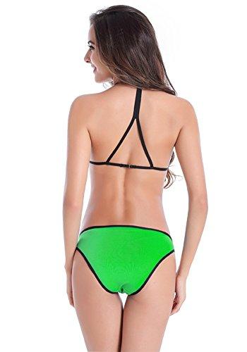 Botobkn 2pcs bikini Traje de ba?o de Mujer moda Trajes de ba?o con Bordes Negros Green
