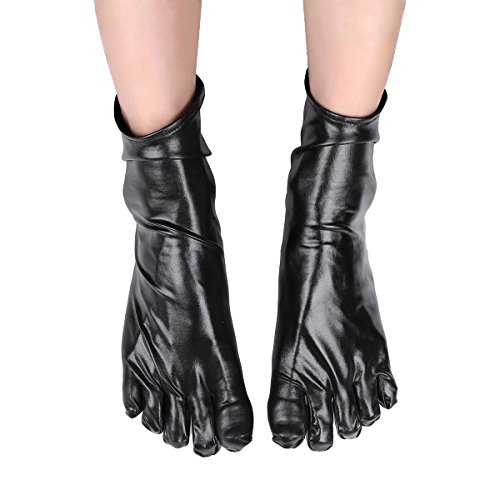 Freebily Unisex Wetlook Patent Leather Short Toe Socks Club Costumes Accessory Black -