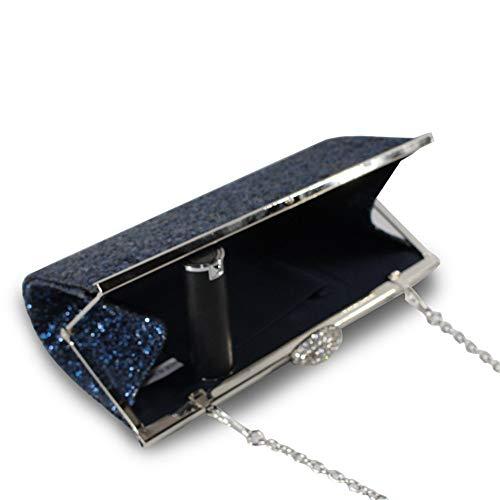 Lampeggiante Con Lluffy Sera Scuro clutch 23x12x4cm Pochette Frizione Blu Da Moda Borsa xCnFqHC8U