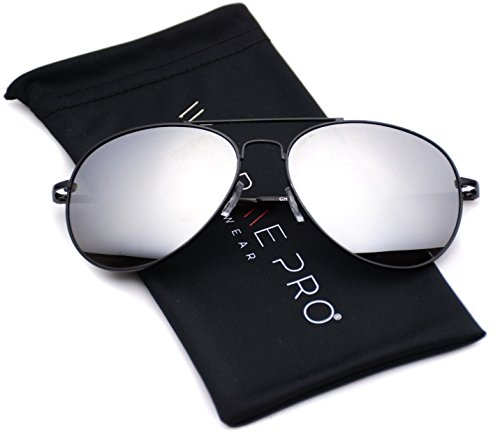 Aviator Full Silver Mirror Metal Frame Sunglasses (Black Frame / Mirror Silver Lens, - Sunglasses Mirror