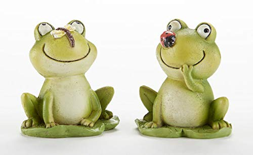 Delton 3 Inches Resin Frog With Insect Nose,Set Of 2