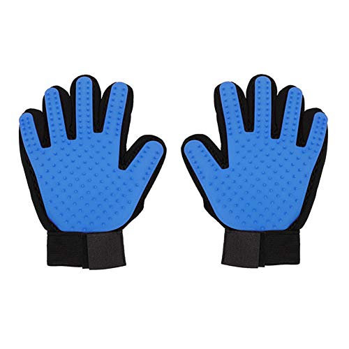 - 7 Angry Ants Pet Grooming Gloves Comfortable for Dogs Cats Shower Bath Washing Deshedding Massage 1 Pair (Blue)