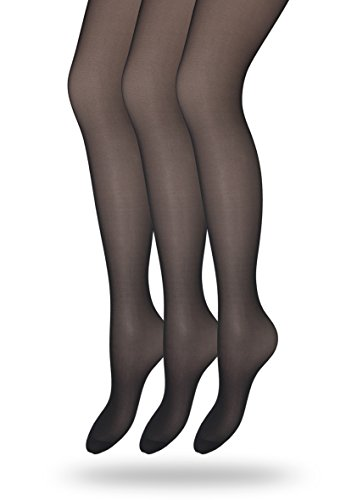 Nylon Sheer Pantyhose (Eedor Women's 3 Pack Silky Control Top Reinforced Toe Sheer Pantyhose Black 3 Pack_black US A/B (4'9
