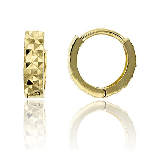 14K Yellow Gold Diamond Cut 2.50x9.50mm Huggie Earring ()