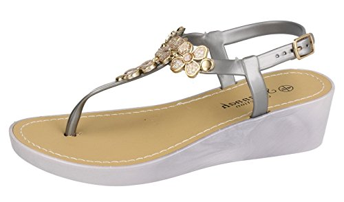 SAUTE STYLES New Ladies Womens Gladiators Diamante Flat Jelly Summer Beach Sandals Shoes Size 3-8 Silver Grey Wedge ioyZ8Zk6JA