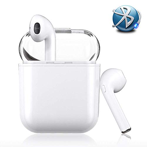 Wireless Earbuds Stereo,Bluetooth Headset, Best Wireless Sports Headphones with Microphone, HD Stereo Anti-Sweat earplugs Gym Running Exercise Noise Reduction Headphones - with Charging Box - Plug Stereo Earphone