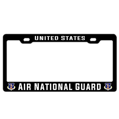 Hopes's Customized Black License Plate Frame Holder, Metal License Plate Frame to Fit Any Standard US Plates - US Air National Guard United States