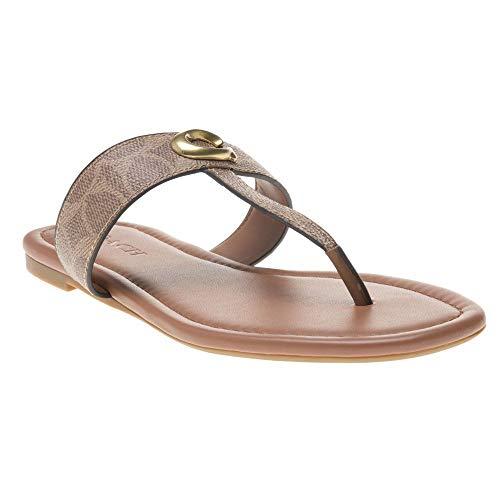 Thong Sandal with Signature Buckle Tan/Dark Brown 8 M US ()