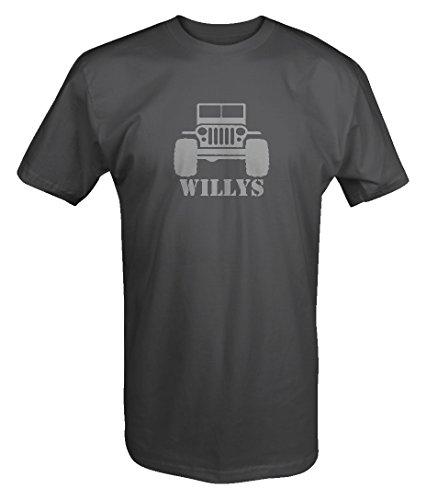 Stealth - Willys Jeep Military CJ Flat Fenders Split Grill T shirt - (Fender Grill)