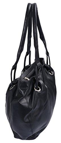 Borsellino da donna LEMONDO, Vera Pelle, nero 30x39cm