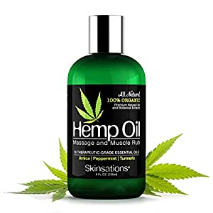 Skinsations – Hemp Oil Muscle Rub & Massage Oil | 100% Organic, Sore Muscle Pain Relief with Arnica Montana, Turmeric…