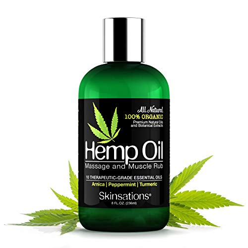 Skinsations - Hemp Oil Muscle Rub & Massage Oil | 100% Organic, Sore Muscle Pain Relief with Arnica Montana, Turmeric, Black Pepper, Peppermint, Lavender in a Sweet Almond Oil and Hemp Seed Oil Base