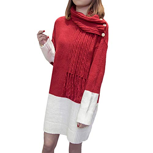HYIRI ✈ clearence!!!Collat Solid Scarf,Women Splicing Sweater Dress with Buttons ()
