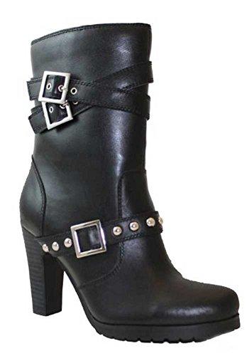Adtec Mujeres 9.5 Black Full Grain Leather 3.5 Heel Double Hebilla 8545