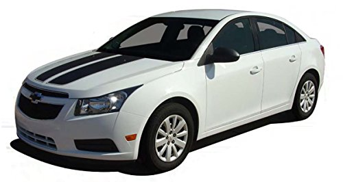 CRUZIN RALLY : 2008 2009 2010 2011 2012 2013 2014 Chevy Cruze Hood and Trunk Rally Vinyl Graphic Decal Stripes (Fits ALL CRUZE MODELS - NO SPOILER) (Color-3M 56 Bright White)