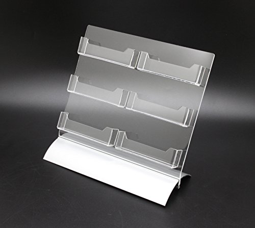 FixtureDisplays 6-Pocket Clear Acrylic Business Card Holder for Tabletop, Slant Back, Snap-On Base (Multi Tiered Base)