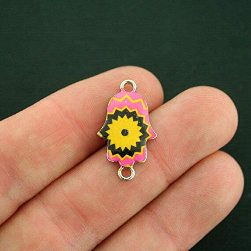 Pendant Jewelry Making for Bracelets and Chains 6 Hamsa Hand Connector Charms Silver Tone Enamel Pink Yellow Starburst - E585