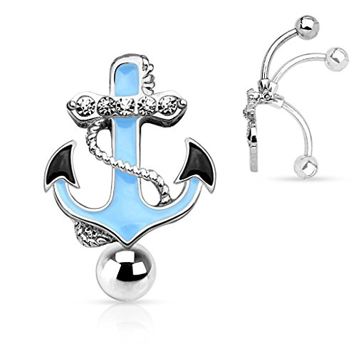 Gemmed Anchor Top Down Non Dangle Belly Button Ring 316L Surgical Steel 14g Reverse Navel Ring (Silver Tone)