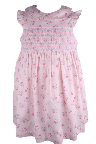 c17b1144034 Amazon.com  Laura Ashley Baby Girls Pink Floral Print Smocked Sundress-24  Months  Infant And Toddler Dresses  Clothing