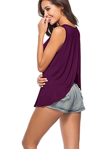 Yucharmyi Open Back Shirts for Women Open Back Tank Loose Tank Tops Sexy Backless Split Shirts Casual Knit Tops Stretchy Shirts (Darkpurple, M) ()