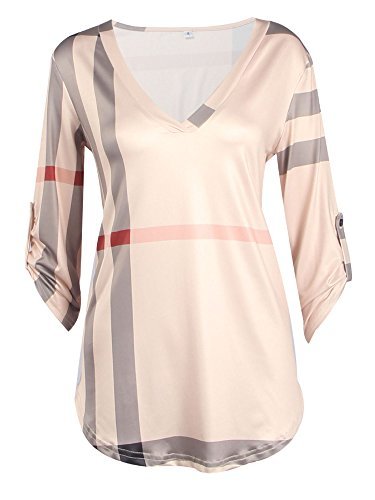 Elevesee Moda Plaid Print V-collar De Siete Mangas Camiseta Rosa