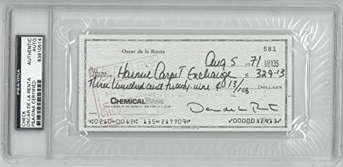 Oscar De La Renta Signed Authentic Personal Check Slabbed PSA/DNA #83910514