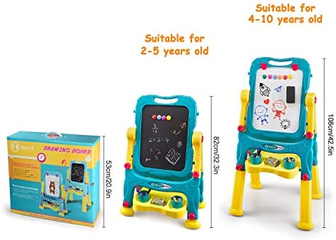 NextX Kids Easel For Two, Adjustable Double Sided Art Easel Chalkboard And Magnetic Dry Erase Board With Kids Art Supplies Accessories