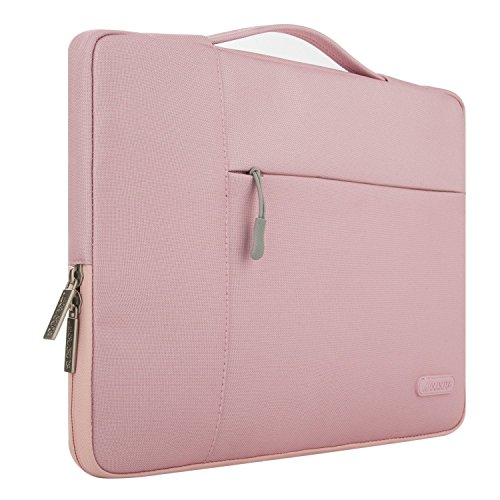 MOSISO Laptop Sleeve Briefcase Handbag Compatible 15-15.6 Inch MacBook Pro, Notebook Computer, Polyester Fabric Multifunctional Carrying Case Protective Bag Cover, Pink