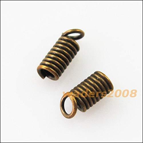 Calvas 100Pcs Coil End Crimp Necklace Fastener Connectors 3x6mm Gold Dull Silver Bronze Plated - (Color: Bronze PLT)