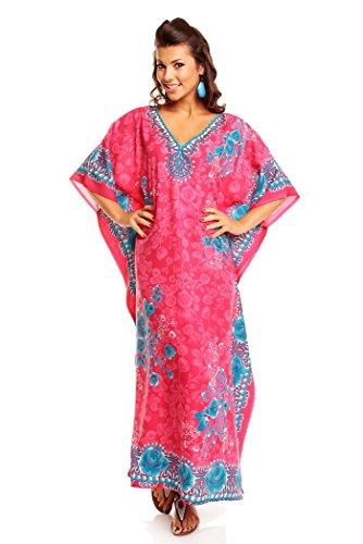 Tunica Kaftan Unica Nuovo Kimono Rosa Caftano Oversize Donna Taglia Da Maxi Abito YRxxZAqwOU