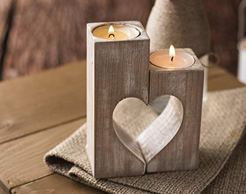 Wood candle holders Valentines Day Gift for Her Wedding gift ideas Rustic candle holder Wooden heart shaped Decorative tea light candles Home decorations Handmade table centerpiece decor Family gift]()