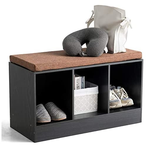 Entryway Giantex Storage Bench with Padded Cushion 3-Cube Entryway Shoe Bench Box Wooden Organizer for Shoes, Books, Toys (Black)