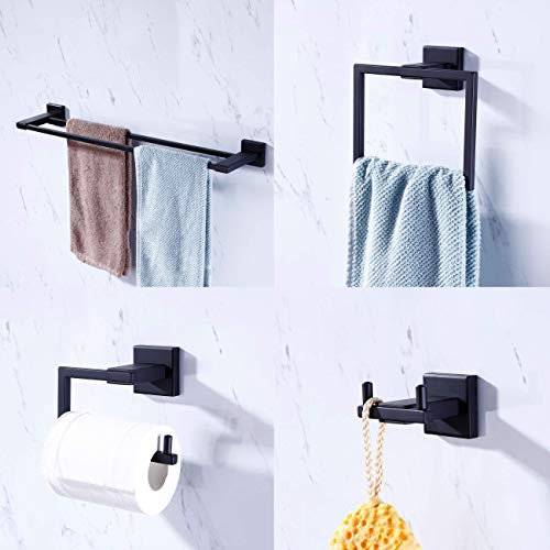 KES Bathroom Accessories Set 4-Piece Double Towel Bar Toilet Paper Holder Robe Hook Towel Ring SUS 304 Stainless Steel RUSTPROOF Wall Mount, Matte Black, LA24BK-43 ()