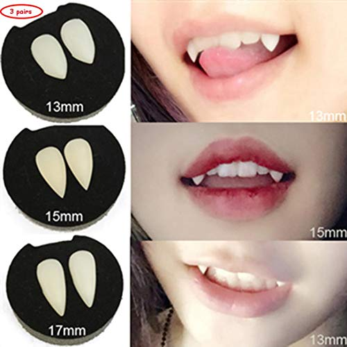 Tpingfe Vampire Teeth, Eco-Friendly Fangs Dentures Props Halloween Costume Props Party Favors (White, 13mm+15mm+17mm)