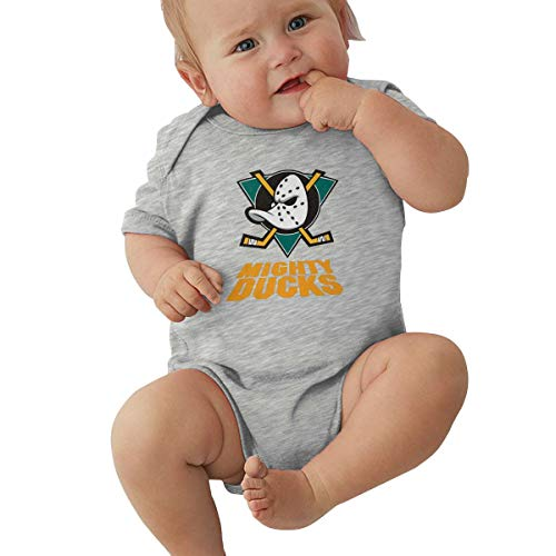 6-24 Months Baby Long Sleeve Climbing Suit Hipster Retro The Mighty Ducks Logo Gray12M