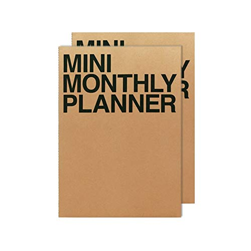 Mini Daily Planner - JSTORY Mini Monthly Planner Set of 2 Undated Eco Friendly Customizable Pocket Size A7 16 Months 18 Sheets Each Kraft
