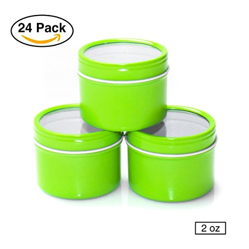 Creative Gifts Lime Green (24 Pack Mimi Pack Small 2 oz Small Deep Round Clear Window Top Tin Cans Lid Steel Containers For FavSpices, Candy Favors, Mints, Balms, Gels, Candles, Gifts, Storage (Lime Green))