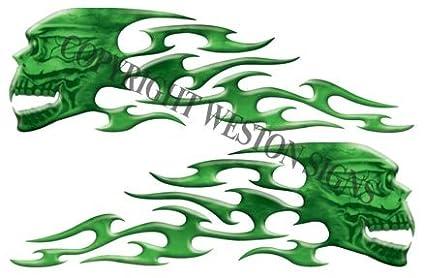 Green Motorcycle Gas Tank Tribal Skull Flames