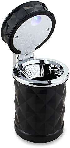ほとんどの車のカップホルダーに適しダイヤモンドファセット、簡単にきれいなモバイル車の灰皿、ブルーLEDライトカバー付きと取り外し可能なセラミックライナー、と車の灰皿 (Color : Black)