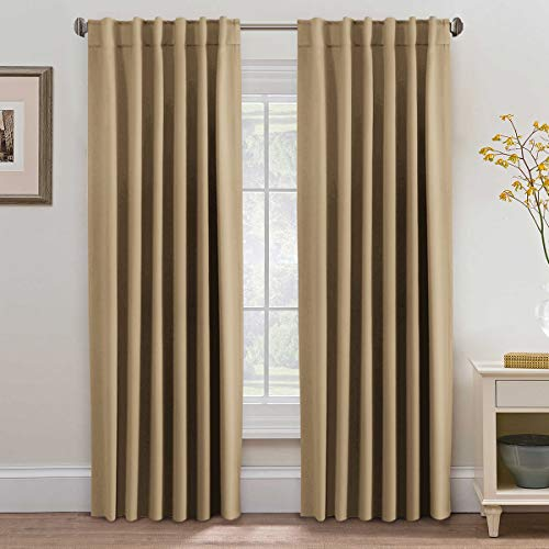 (H.VERSAILTEX Home Fashion Blackout Room Darkening Curtains, Rod Pocket/Back Tab Window Treatment Panels - W52 x L84 Each Panel, 7 Back Loops per Panel, Sold by Pair, Latte)