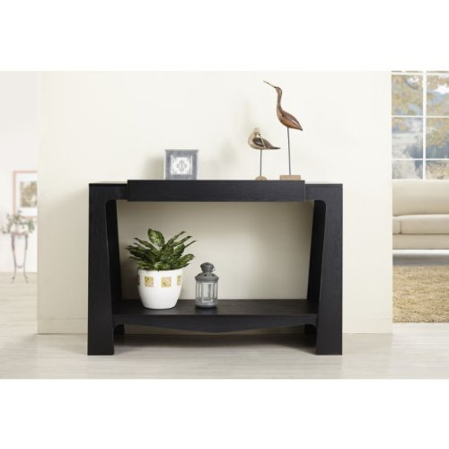 Black Modern Hall-Entry Way Console Table Key Storage Sofa