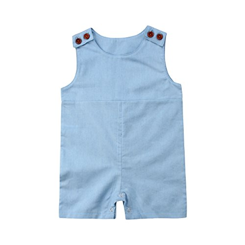 Honganda Infant Baby Boy Girl Sleeveless Romper Jumpsuit Shorts Summer Outfit Clothing (Light Blue, 12-18 (Baby Boy Light Blue Romper)