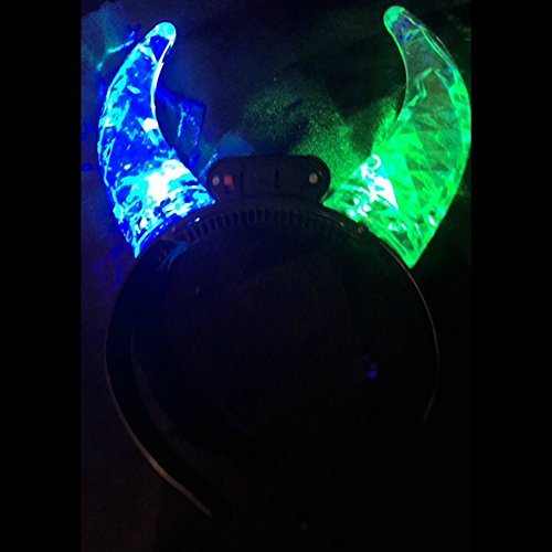 Light Up Flashing Color Changing Prism Devil Horns - B U Y 1, G E T 1 F R E E !!! Perfect for Halloween and New Year's Eve! ()