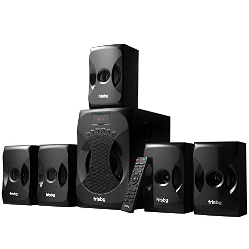 Frisby 5.1 Surround Sound Home Theater System with Subwoofer, Bluetooth Wireless Streaming from Devices, USB MP3 Input, Memory Card Reader, FM Radio Tuner, Remote Control - Black