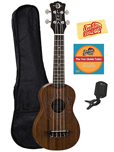 Luna Honu Mahogany Soprano Ukulele Bundle with Gig Bag, Tuner, Austin Bazaar Instructional DVD, and Polishing Cloth